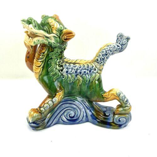 "Vintage Chinese Dragon Statue Figurine Ceramic Multicolor Green Blue Brown 8x8"""