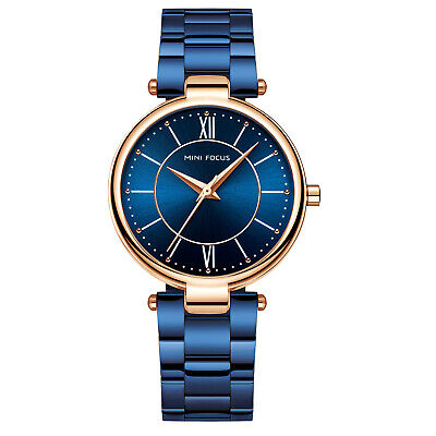 Womens Quartz Watch Blue Dial Aolly Case Bright Color Simple Style Time Casual