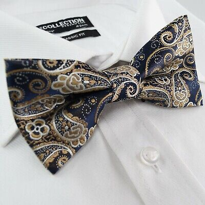 Mens Pre-Tied Bow Tie Gold Navy Blue  Woven Floral Paisley Jacquard Silk Blend - Paisley Silk Bow Tie