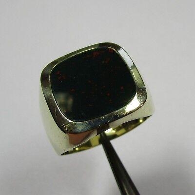1397 - Klassischer Herrenring aus Gelbgold 585 mit Heliotrop - G15