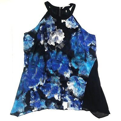 t tahari high neck sleeveless floral black blue asymmetrical top tunic sz (High Neck Floral Tunic)