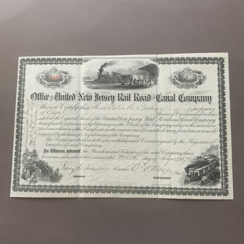 1876 New Jersey OFFICE OF THE UNITED NEW JERSEY RAILROAD & CANAL CO. Stock