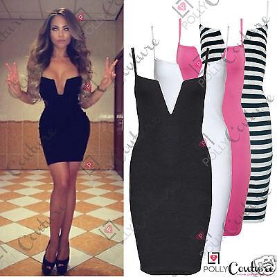 Womens Boutique Going Out Clubbing Bodycon Deep Plunge Bustier Bra Low Cut Dress