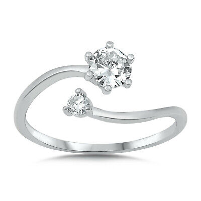 Open Round Ring (Open Round White CZ Adjustable Ring .925 Sterling Silver Band Sizes 5-10 NEW )