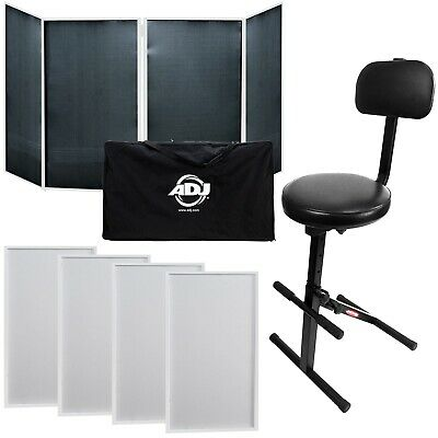 American DJ Event Facade II White DJ Frontboard w/ Carry Bag + Chair
