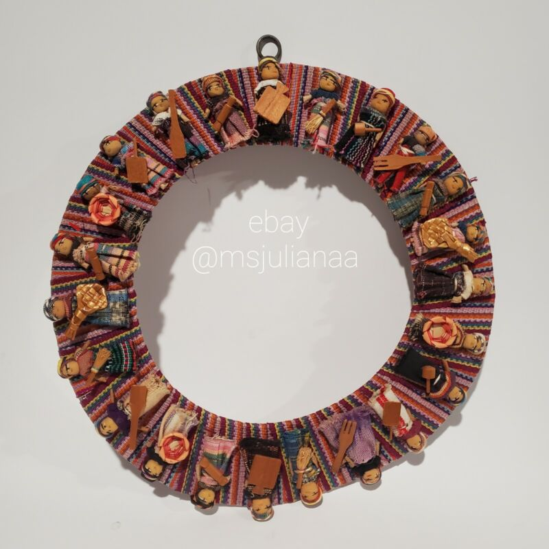 Vintage Handmade Guatemalan Worry Doll  Wreath FOLK ART Colorful Cloth Tribal