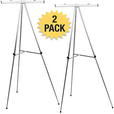 Aluminum Flip-chart Easel 2-pack With Telescoping Legs 70 Silver