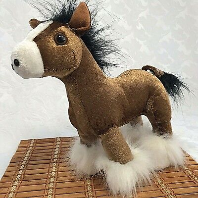 Stuffed Animal Plush Horse Clydesdale Stands 9.5