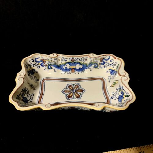 Temptations by Tara Ovenware Dish Brown & Blue Scalloped Rectangle Dish