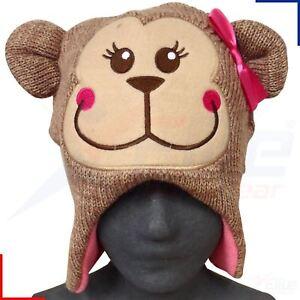 Girls Animal Monkey Hat Warm Winter Ski Kintted Beanie Fleece Lined