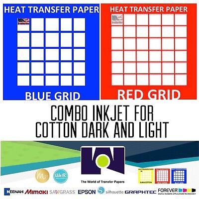 Inkjet T-shirt Heat Transfer Paper Combo 10 Sh Each Dark Red Grid 8.5x11