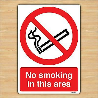 No Smoking In This Area - No Smoking Sign Vinyl Sticker 148x210mm By Stika.co