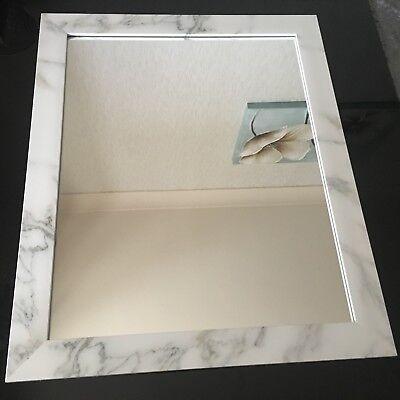 LARGE marble EFFECT WALL MIRROR white grey marble effect bathroom MIRROR 48X58cm