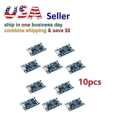 10pc 5V Micro USB 1A 18650 Lithium Battery Charging Board Charger Module Arduino