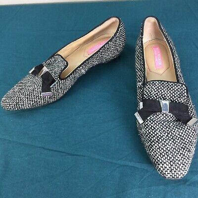 Used Isaac Mizrahi New York Black White French Bow Womens Shoes sz 8.5 M