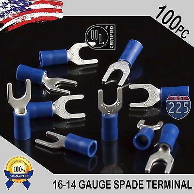 100 Pack 16-14 Gauge Vinyl Spade Fork Crimp Terminals 10 Stud Tin Copper Core