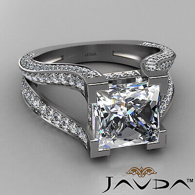 Circa Halo Split Shank Princess Diamond Engagement Pave Set Ring GIA H VS2 2.4Ct 1