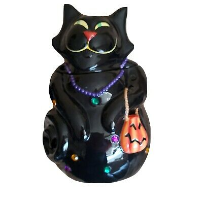 Black Cat Cookie jar w/ pumpkin purse HALLOWEEN TRICK OR TREATFancy Ceramic