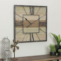 Wall Clock Home Decor Metal Framed Wooden Rustic Industrial Analog Quartz Large
