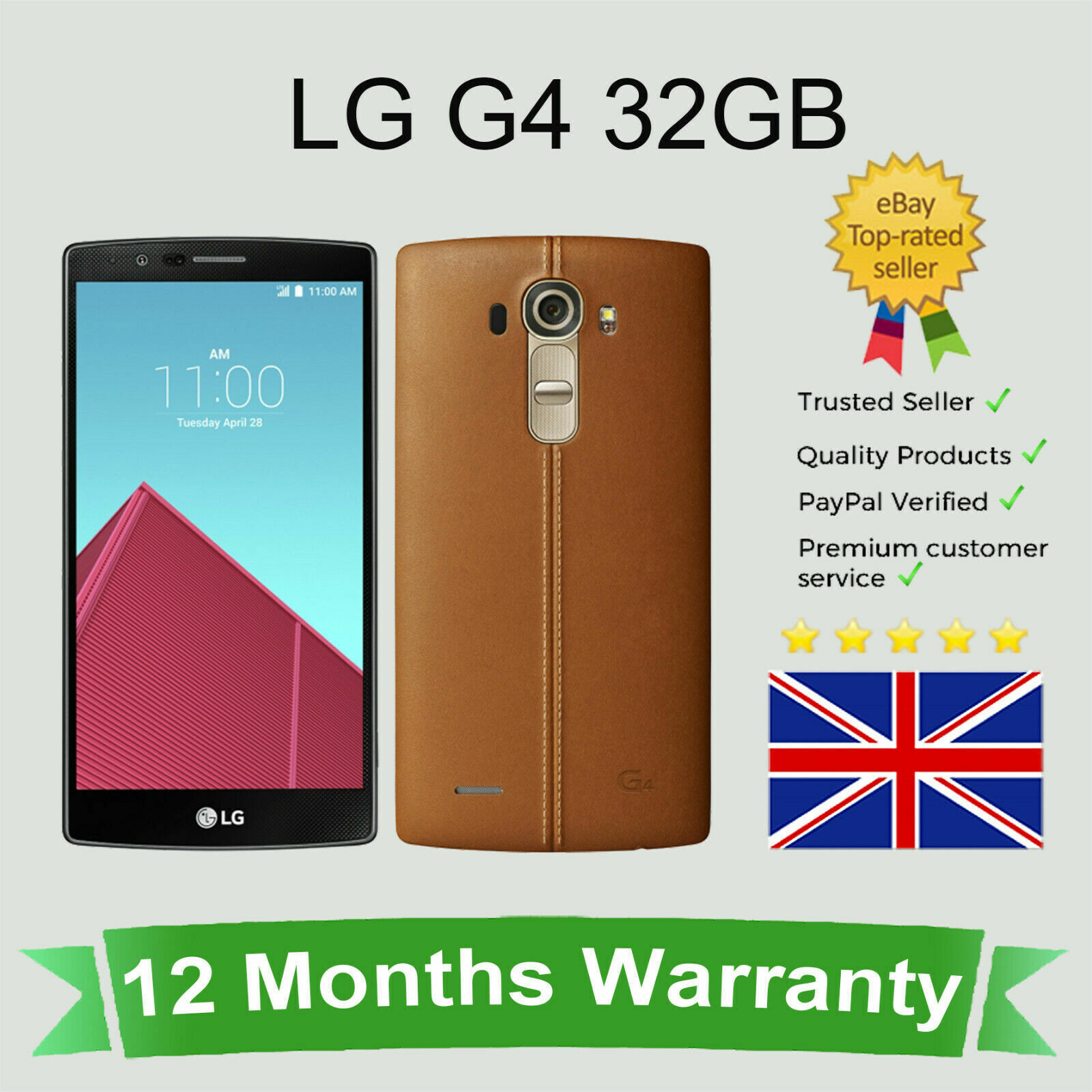 """Android Phone - Unlocked LG G4 H815 Android Cellular Smart Mobile Phone 32GB Brown SIM FREE 5.5"""""""