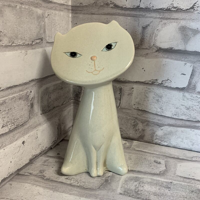 Flat Face Cat Figurine Retro Art Deco Artistic