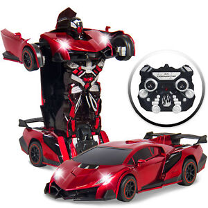 Best Choice Products Kids Toy Transformer RC Robot Car Remote Control Car (Red)