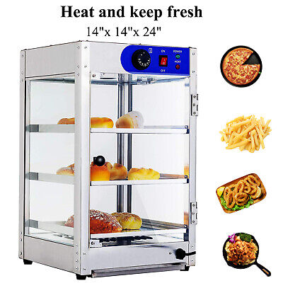 14x14x24 Commercial 3-tier Countertop Food Pizza Warmer Display Cabinet Case