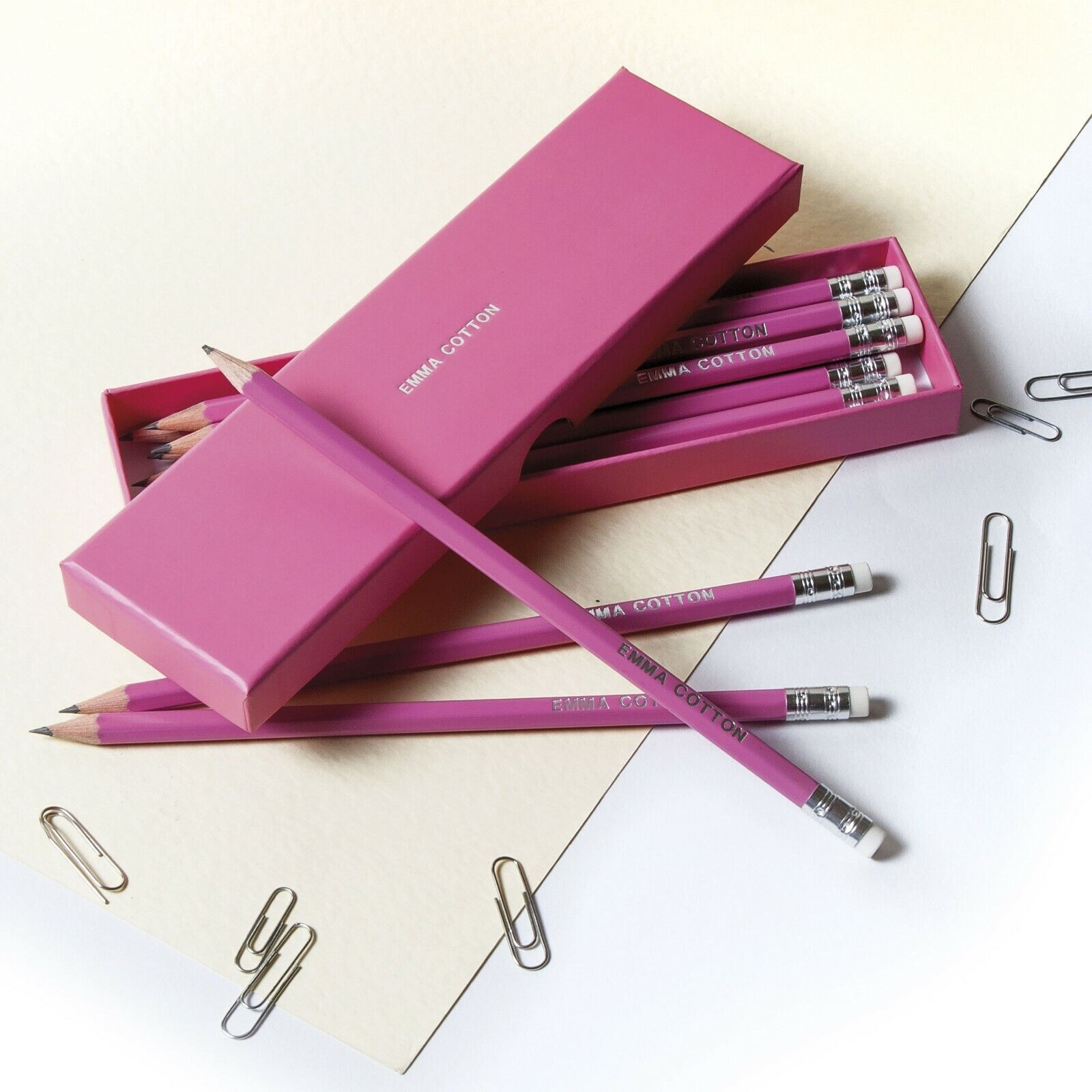 Personalised 12 Stabilo Turquoise HB Pencils In A Box
