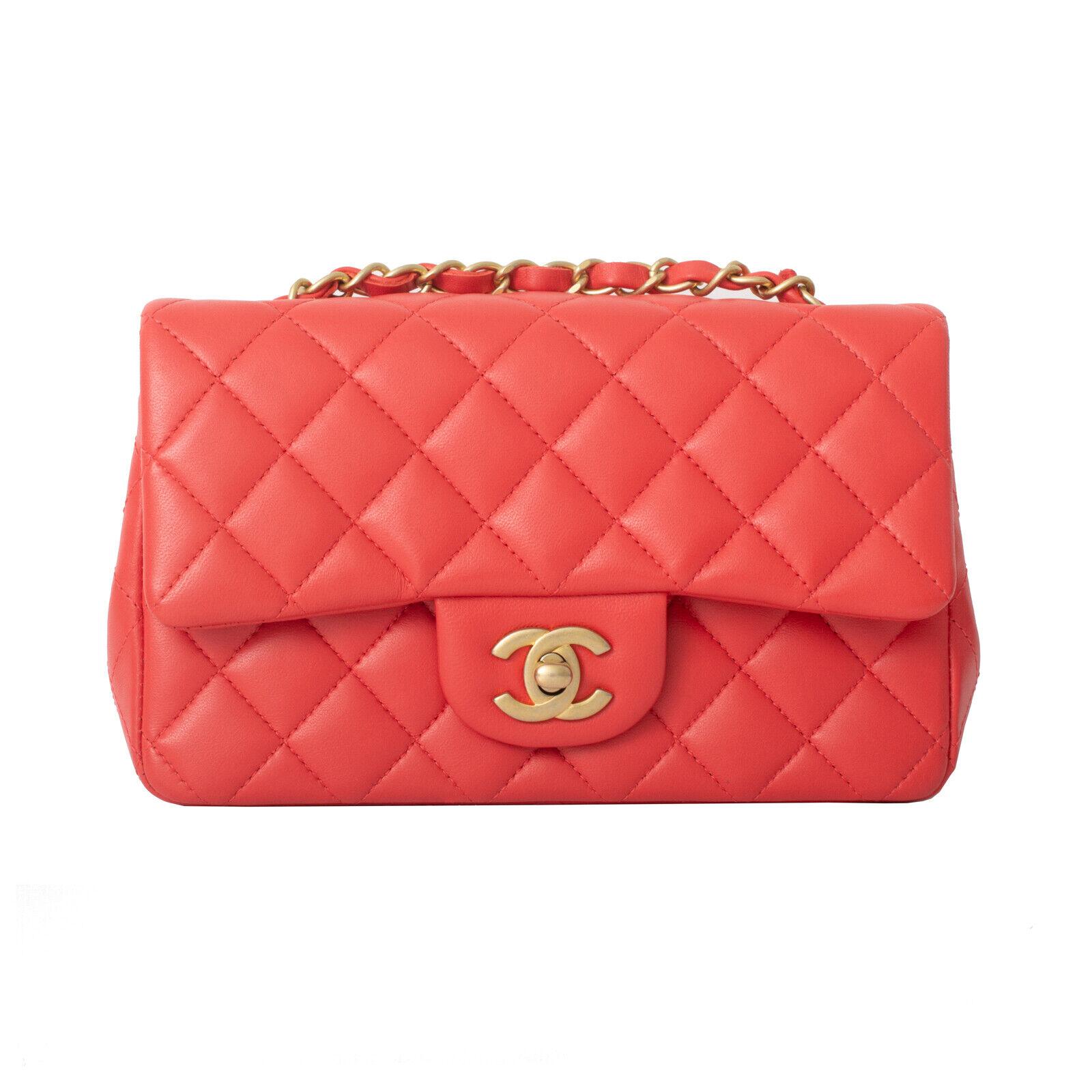 CHANEL Rouge Agneau Lambskin Mini Flap Bag Gold Tone Hardware