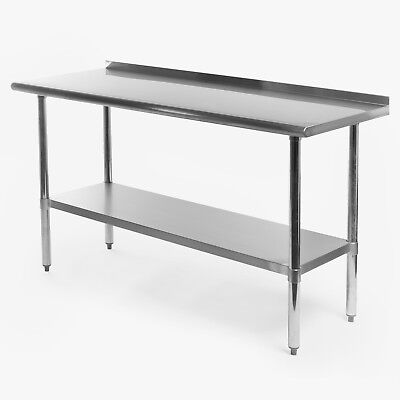 Stainless Steel Kitchen Restaurant Prep Work Table With Backsplash - 24 X 60