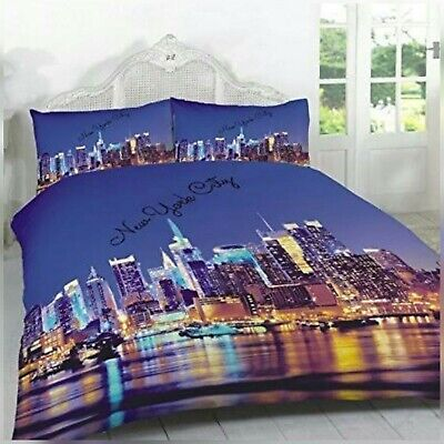 3D ILLUMINATED LUSCIOUS NEW YORK CITY PATTERNED DOUBLE KING DUVET QUILT COVER