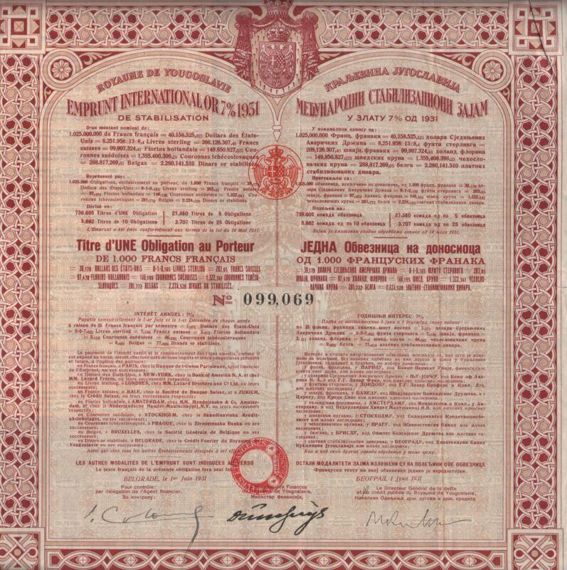 YUGOSLAVIA ROYAL KINGDOM  BOND stock certificate 1931,  W/COUPONS