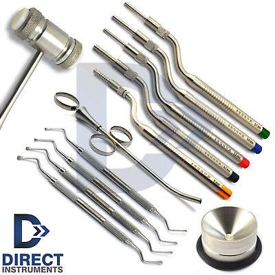 Dental Implant Surgery Kit Sinus Lift Osteotome Lucas Curettes Bone Graft Mallet