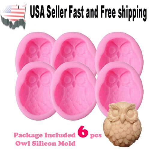 Lot of 6 Pcs Large 3D Silicone Owl Soap Mold Molds DIY Handmade ~ US Seller