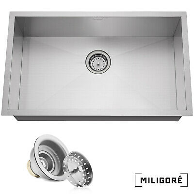 "30""x18""x9"" Stainless Steel Single Bowl Undermount Kitchen Sink Basin"