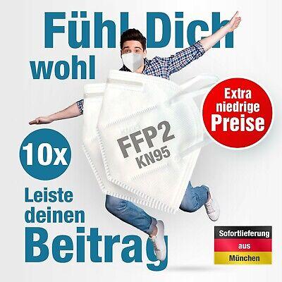 10x KN95 FFP2 Schutzmaske Mundschutz Filterleistung ≥95% Gesichtsmaske Maske