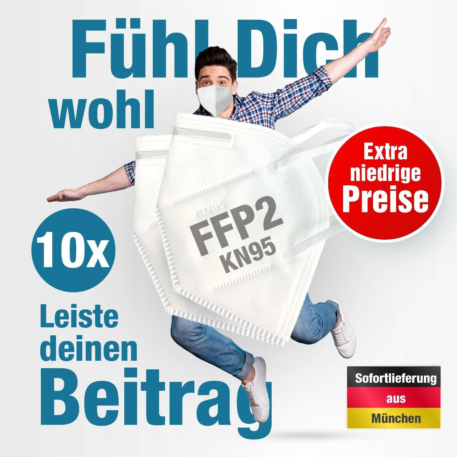 10x KN95 FFP2 Atemschutz Mundschutz Filterleistung ≥95% Gesichtsmaske Masken