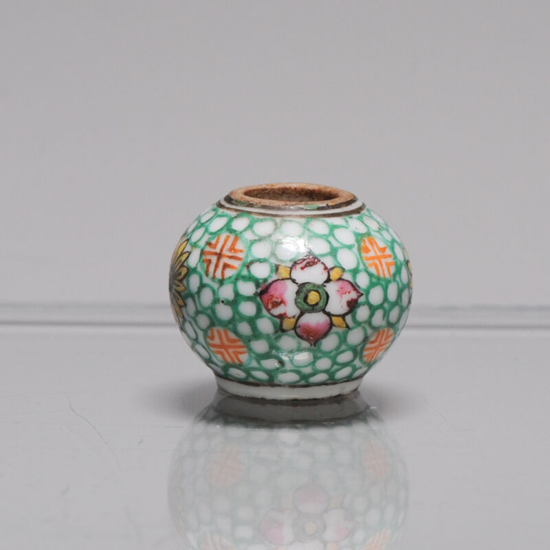 Perfect Chinese porcelain polychrome BIRD FEEDER Qing period Flowers