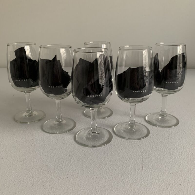 "United Airlines 1st Class Wine Glass Set Of Six 5.75"" Tall New"