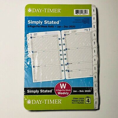 Day-timer 2020 Simply Stated Weeklymonthly Planner Size 4 Refill 8.5x5.5