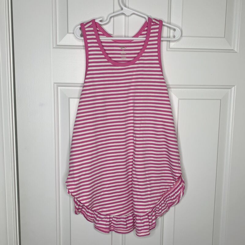 Tea Collection Girls Pink White Stripe Sleeveless Tank Dress Ruffle Sz 10 EUC
