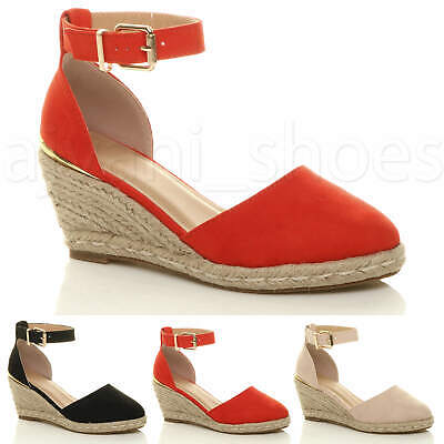 WOMENS LADIES MID WEDGE HEEL BUCKLE UP ANKLE STRAP ESPADRILLE SANDALS SIZE Mid Wedge Sandal
