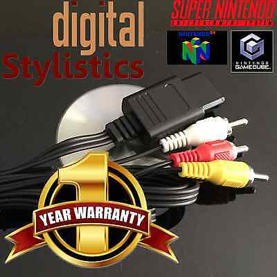 A/V Cable Cord (NEW) SNES Super Nintendo, GC Gamecube, N64 (AV Audio Video, 64)