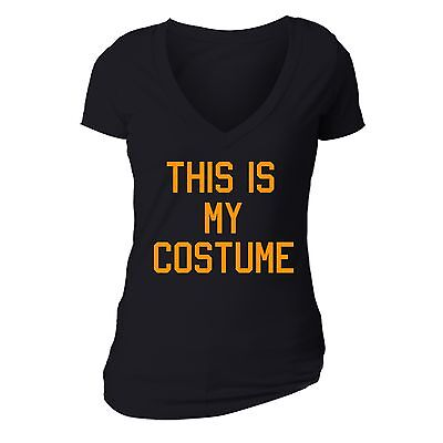 This Is My Halloween Costume T (Halloween T-shirt This is my Costume Boo spooky Funny pumpkin Women vneck)