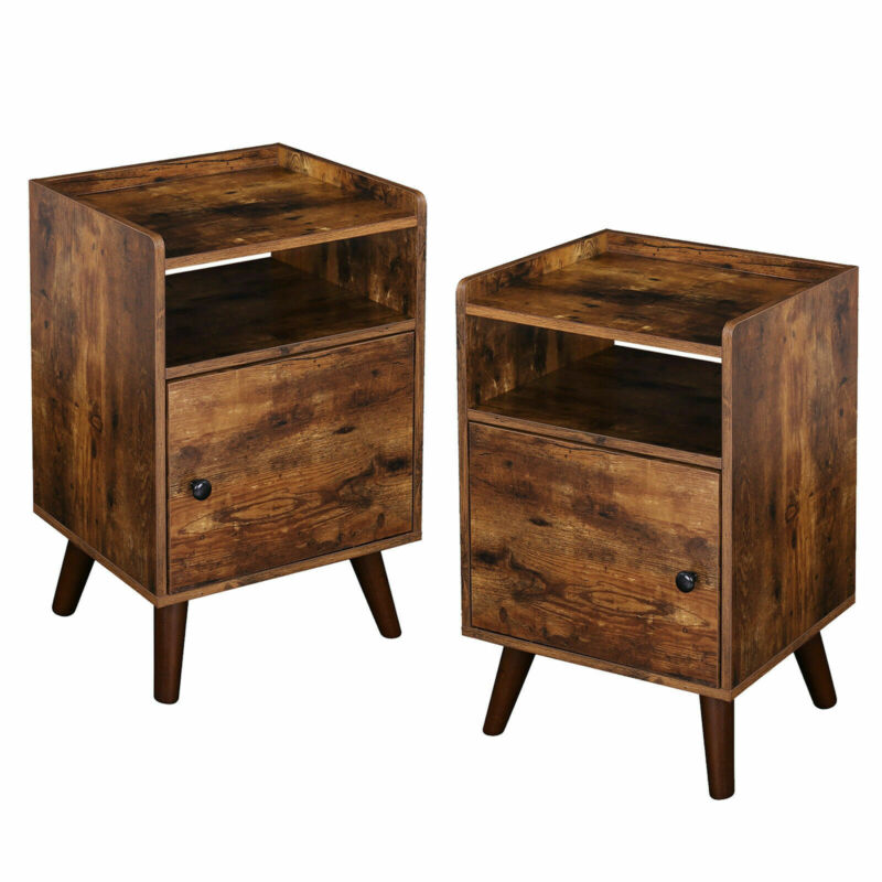 Nightstand 3-Tier Set of 2 End Table Side Table Stable Wooden Legs Rustic Brown