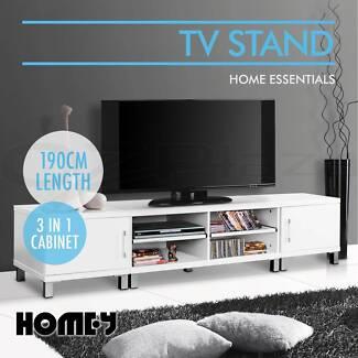 TV Stand Entertainment Unit 190CM Lowline Cabinet Drawer White