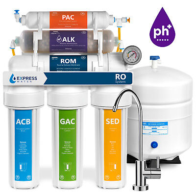 10-Stage Undersink Reverse Osmosis + Alkaline Mineral Water Filter System 50 GPD