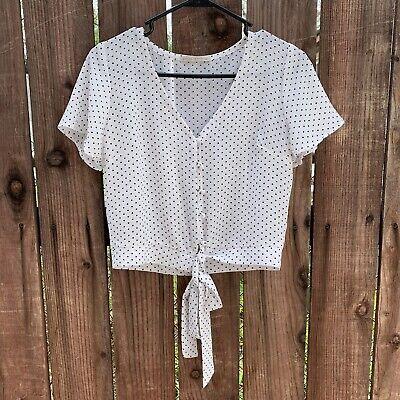 White & Black Polka Dot Crop Top Blouse Size Small Women