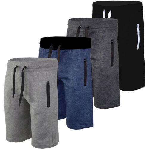 Mens Plain Gym Fleece Jogger Running Shorts Elasticated Pant