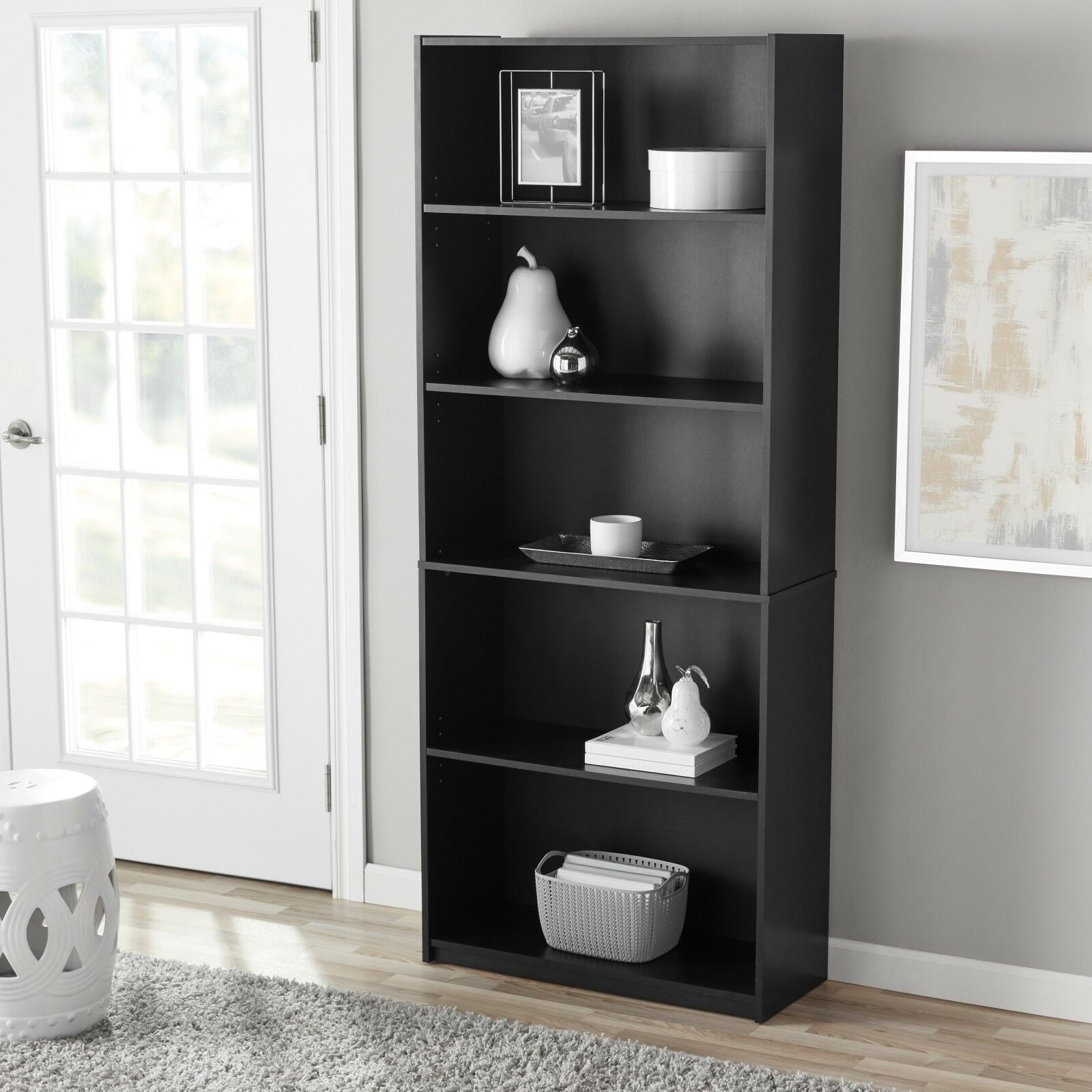5-Shelf Adjustable Wood Bookcase Book Storage Shelving Books